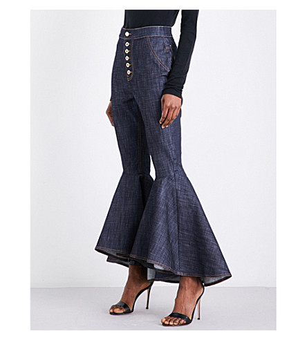 ELLERY Hysteria flared cropped high-rise jeans (Navy+raw