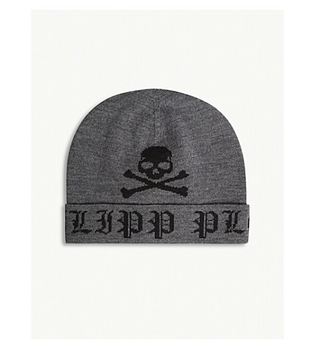 PHILIPP PLEIN 光泽羊毛帽 (黑 + 镍