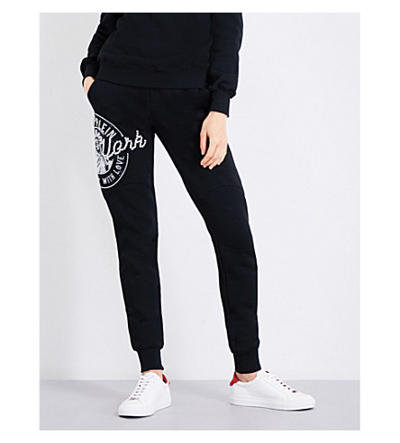 PHILIPP PLEIN NYC skinny mid-rise jersey jogging bottoms (Black