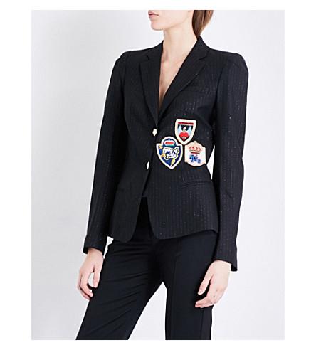 PHILIPP PLEIN Patch-embroidered twill blazer (Black