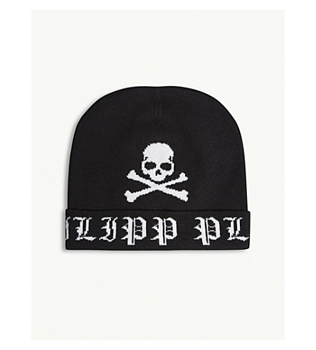 PHILIPP PLEIN Sheen wool hat (Black