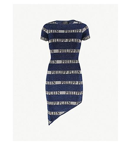 PHILIPP PLEIN条纹闪闪发亮的针织连衣裙 (中 + 蓝