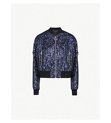 PHILIPP PLEIN Sequin-embellished bomber jacket (Middle+blue