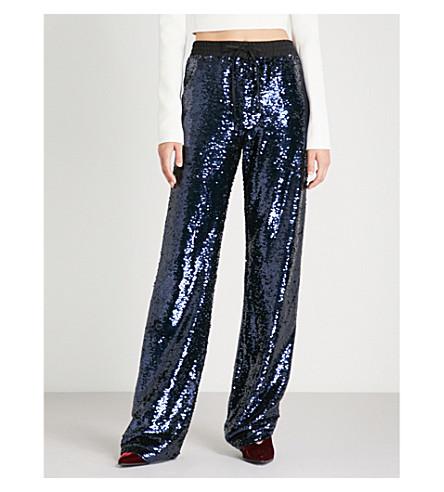 PHILIPP PLEIN 休闲版型 sequinned 裤子 (海军