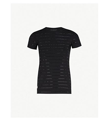 PHILIPP PLEIN 铆钉缀饰平纹针织棉 T 恤 (黑色 + 黑色