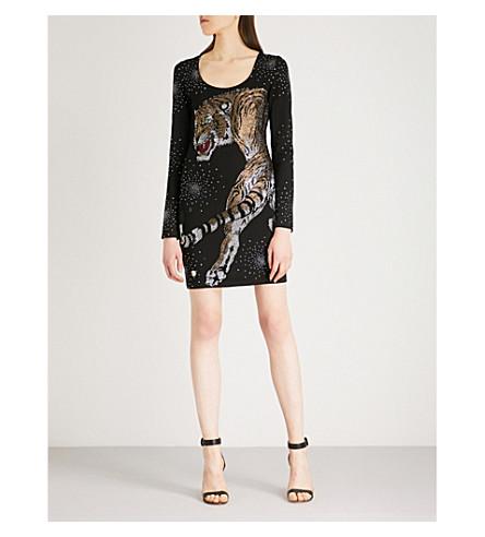 PHILIPP PLEIN Listen tiger-motif crystal-embellished jersey mini dress (Black