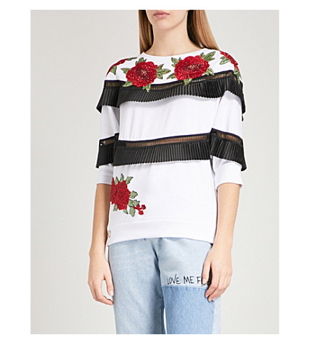 PHILIPP PLEIN Terra Swan embellished ruffled cotton-jersey sweatshirt (White