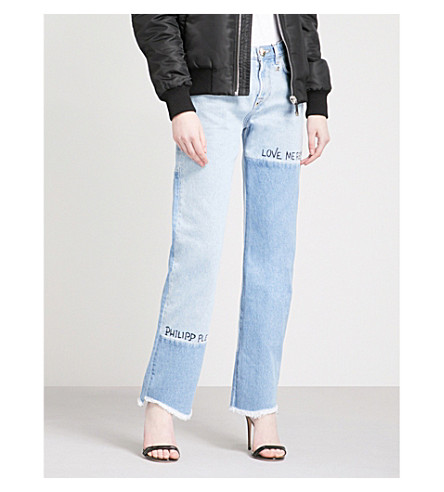 PHILIPP PLEIN Text-embroidered patchwork straight high-rise jeans (Dahlia