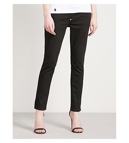 PHILIPP PLEIN Rose-embroidered straight mid-rise jeans (Black+diamond