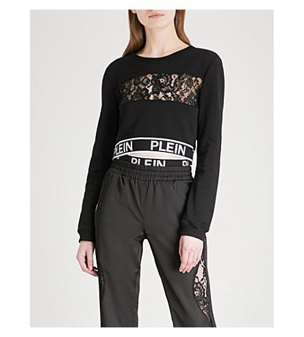 PHILIPP PLEIN Oralee cropped cotton sweatshirt (Black