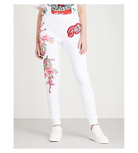 PHILIPP PLEIN Campana Sheyla embellished cotton-blend jogging bottoms (White