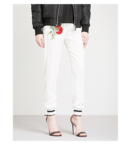 PHILIPP PLEIN Rose-embroidered tapered woven trousers (White