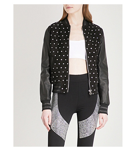 PHILIPP PLEIN Bright Snake suede and leather bomber jacket (Black