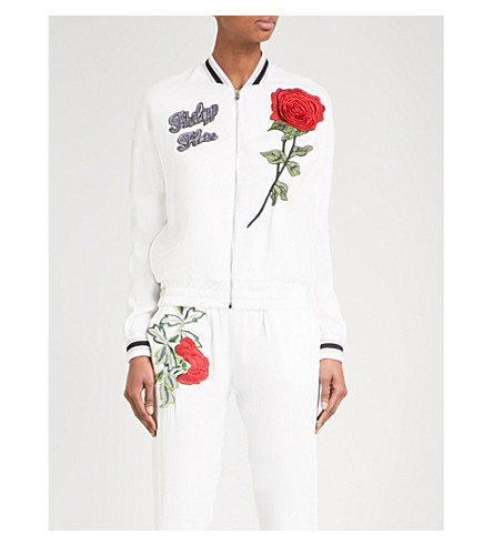 PHILIPP PLEIN Brand and rose-embroidered crepe bomber jacket (White