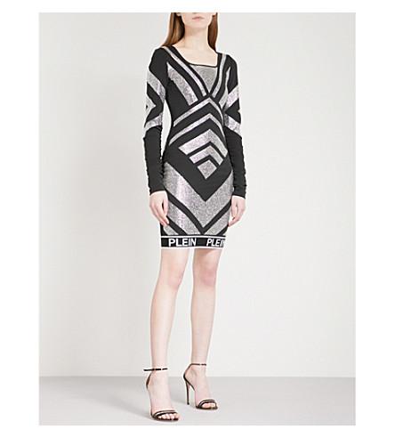 PHILIPP PLEIN Jewel-patterned fitted stretch-jersey mini dress (Black
