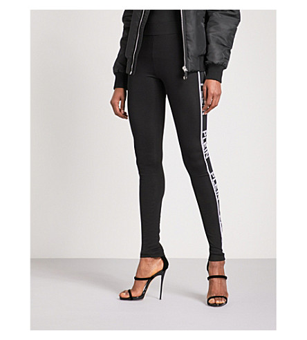PHILIPP PLEIN Logo-trim skinny mid-rise stretch leggings (Black