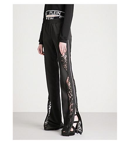 PHILIPP PLEIN Lace-panel wide-leg satin trousers (Black