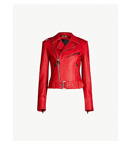 PHILIPP PLEIN Biker leather jacket (Red