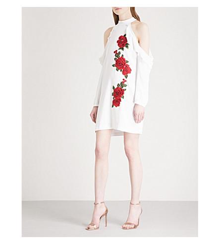 PHILIPP PLEIN Grazia Rowe halterneck crepe mini dress (White