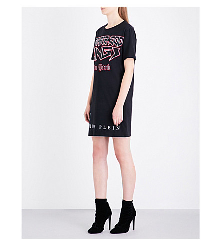 PHILIPP PLEIN Neighborhood Kings-print cotton-jersey T-shirt dress (Black