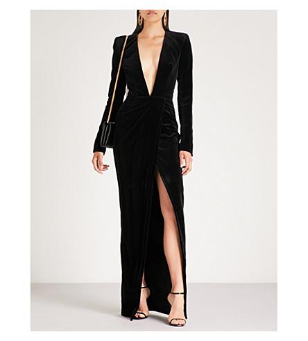 ALEXANDRE VAUTHIER Plunging V-neck velvet gown (Black