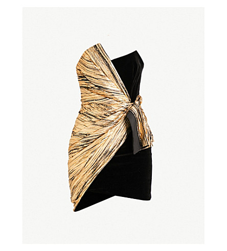 ALEXANDRE VAUTHIER Strapless velvet and metallic foil mini dress (Gold