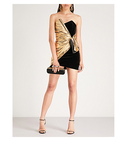ALEXANDRE VAUTHIER Strapless velvet and metallic foil mini dress (Gold