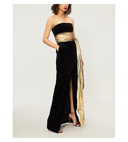ALEXANDRE VAUTHIER Strapless velvet and metallic foil gown (Black
