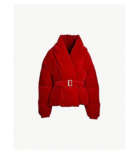 ALEXANDRE VAUTHIER Velvet-down puffer jacket (Scarlet