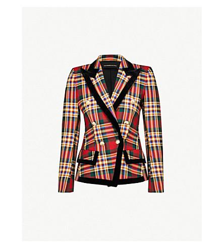 ALEXANDRE VAUTHIER Velvet-trim plaid wool jacket (Moor