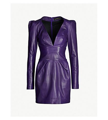ALEXANDRE VAUTHIER Plunging V-neck leather mini dress (Purple