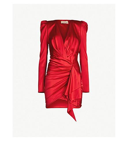 ALEXANDRE VAUTHIER V-neck draped silk-satin mini dress (Scarlet