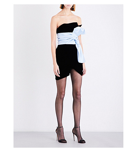 ALEXANDRE VAUTHIER Asymmetric velvet mini dress (Black