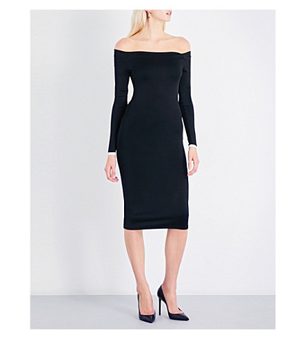 ALEXANDRE VAUTHIER Off-the-shoulder stretch-jersey midi dress (Black