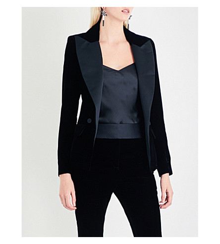 ALEXANDRE VAUTHIER Tuxedo velvet and satin blazer (Black