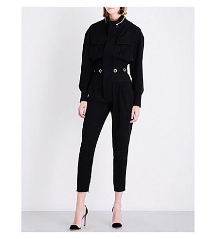 ALEXANDRE VAUTHIER Eyelet-embellished crepe jumpsuit (Black