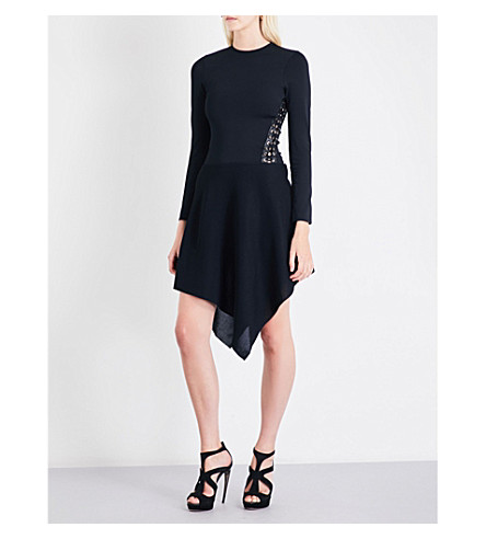 ALEXANDRE VAUTHIER Lace-up stretch-knit dress (Black