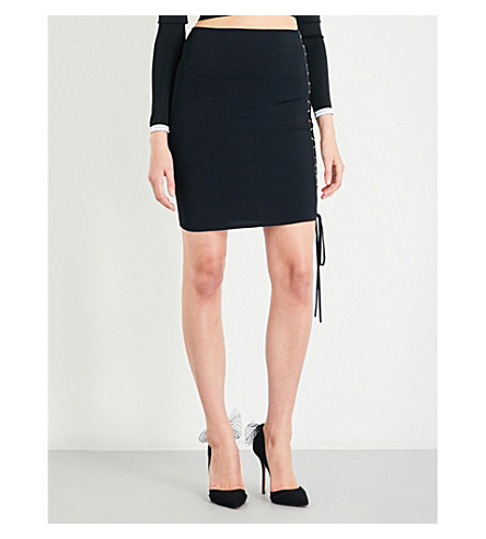 ALEXANDRE VAUTHIER Lace-up stretch-knit mini skirt (Black