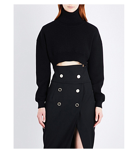 ALEXANDRE VAUTHIER Turtleneck cropped wool jumper (Black