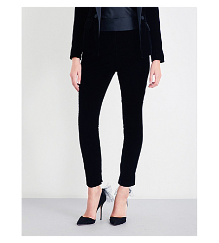 ALEXANDRE VAUTHIER Tuxedo skinny velvet and satin trousers (Black