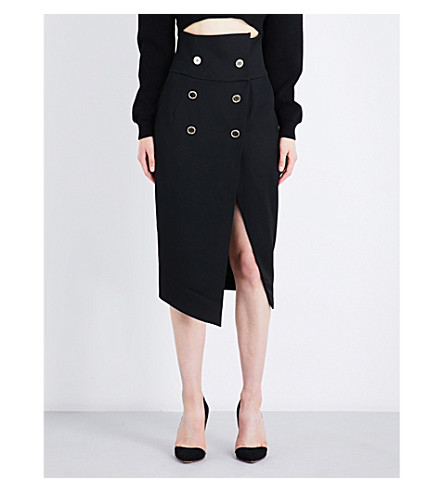 ALEXANDRE VAUTHIER Double-breasted wool midi skirt (Black