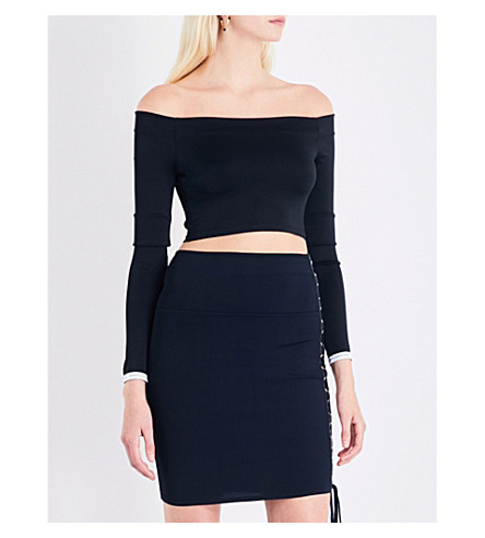 ALEXANDRE VAUTHIER Off-the-shoulder stretch-jersey cropped top (Black