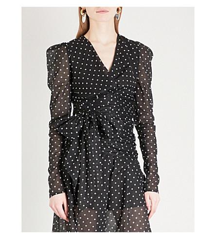 ALEXANDRE VAUTHIER Polka dot wrap-over cotton top (Black
