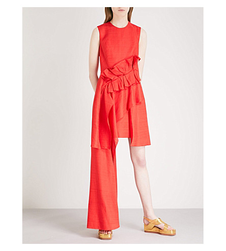DELPOZO Ruffled waterfall-hem woven dress (Venetian+red