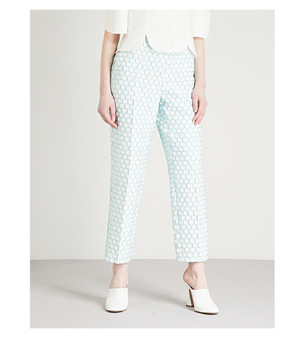 DELPOZO Honeycomb-pattern straight high-rise woven trousers (Print+on+white+base