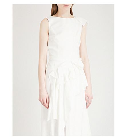 DELPOZO Open-back ruffled sleeveless woven top (Winter+white