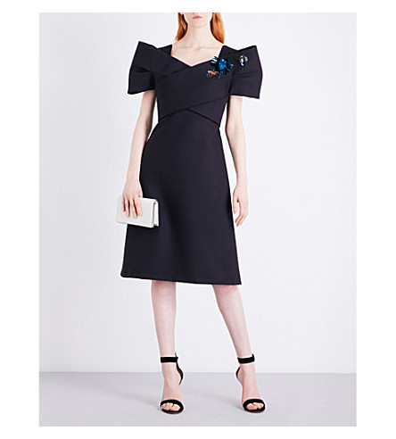DELPOZO Embellished wool and silk-blend dress (Midnight+black