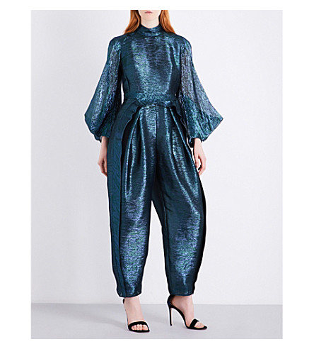 DELPOZO Metallic relaxed-fit silk-blend jumpsuit (Print+on+green+base