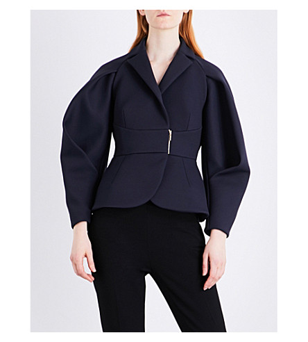 DELPOZO Rounded-sleeve woven jacket (Aegean+black