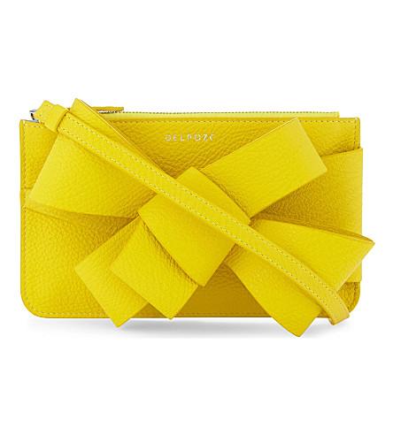 DELPOZO Bow grained leather clutch bag (Blazing+yellow